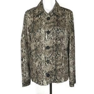 Liz Clairborne Womens Jacket Size 14 Brown Snake